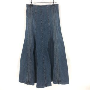 Louie high waisted fit and flare midi denim skirt